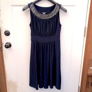 Ruched bead detailed navy dress